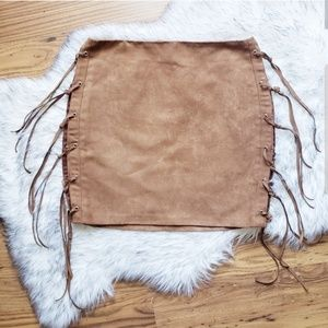 Timing Brown Faux Suede Fringe Mini Skirt Small